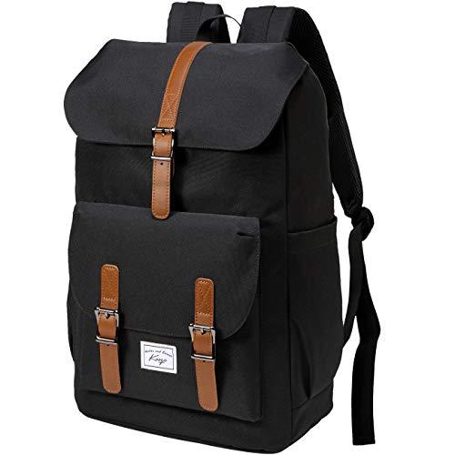 Schulrucksack, Kasgo Wasserabweisend 15.6 Zoll Laptop Vintage Rucksack für Mädchen Jungen Teenager Damen Herren mit USB-Ladeanschluss Casual Daypack für Hochschule Reise Arbeit Schulranzen(Schwarz)
