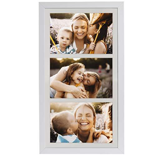 BD ART 18 x 35 cm Mehrfach Bilderrahmen, Bildergalerie, Fotogalerie mit Passepartout und 3 Foto-Ausschnitten für Fotos 10 x 15 cm, Weiß