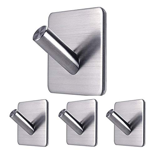 Ganchos 4pcs autoadhesivo de acero inoxidable gancho impermeable y sin colgador de taladro for espejo de baño y plano liso Gancho Toalla