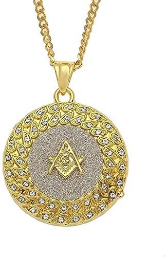 CCXXYANG Co.,ltd Collar Moda Hip Hop Iced out Freemasonry Freemason/Jesus/Angel/Men Collares Pendientes Moda Hip Hop Collar Hombres Joyas Longitud 24 Pulgadas