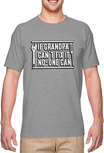 BLINGG If Grandpa Can't Fix It No-One Can Papa Men's T-Shirt,Light Gray,Medium