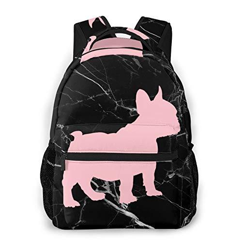 Waterproof French Bulldog Silhouette Black Backpack Outdoor Daypacks for Teens Boys Girls
