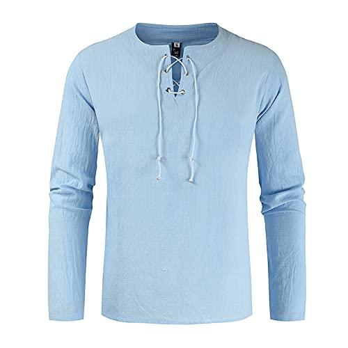 SSBZYES Camisas para Hombres Camisas De Manga Larga para Hombres Camisas De Color Sólido Camisetas De Manga Larga con Cuello En V Sueltas De Color Sólido para Hombres Tops Casuales para Hombres