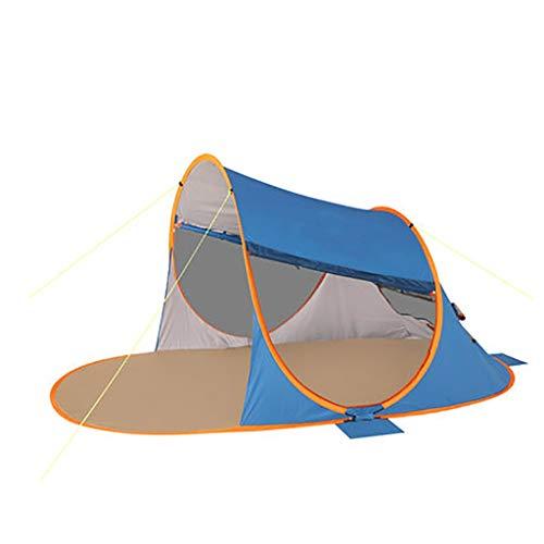 SMSJ-YJ grote strandtent draagbare reistent UPF 50+ zonwering Pop Up opvouwen outdoor schaduw voor 3-4 personen (Precious Stone Blue)