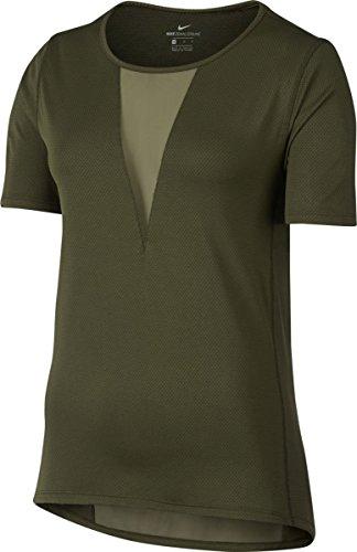 Nike W NK Znl CL Relay SS NV T-Shirt für Damen, Grün (Legion Green), XS
