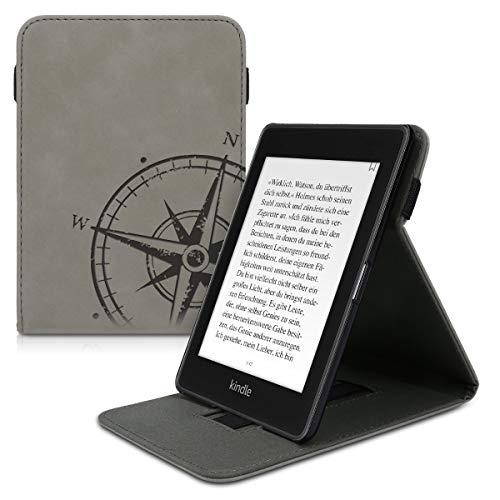 kwmobile Hülle kompatibel mit Amazon Kindle Paperwhite (10. Gen - 2018) - Schlaufe Ständer - e-Reader Schutzhülle - Kompass Vintage Grau