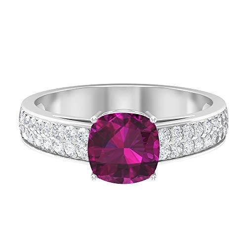 7.00 mm anillo de rodolita corte cojín, D-VSSI Moissanite Anillo, anillo solitario con piedras laterales, anillo de compromiso de oro (calidad AAA), 14K Oro blanco, Rodolita, Size:EU 57