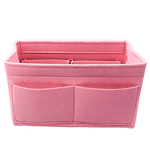 Lmeison Felt Bag Organizer X-Large, Purse Inserts for Speedy 40, Multipocket Tote Bag Organizer for Longchamps Tote Bag, Pink