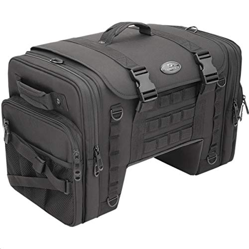 Saddlemen TS3200DE Tactical Deluxe Cruiser Tail Street Motorcycle Tail Bags - Black/One Size
