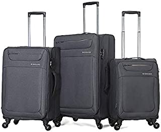Giordano Soft Case Trolley Bags with 4 wheels, Set of 3 Pieces - Grey