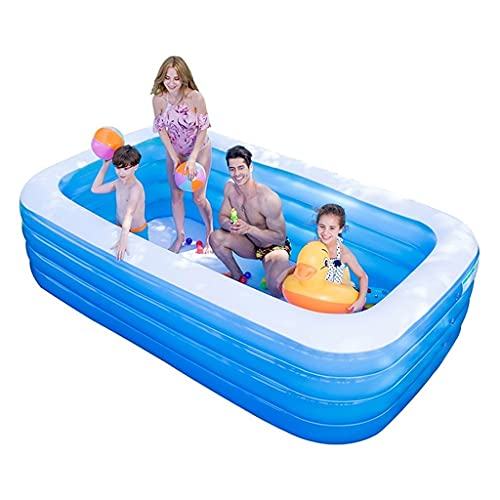 Bañeras con jacuzzi Piscina Inflable Patio Al Aire Libre Gran Parque Acuático Hogar Niños Cubo De Baño Engrosado Inflable (Color : Blue, Size : 210 * 150 * 75cm)