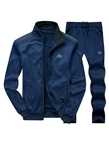 FTCayanz Tuta Uomo Atletico Jogging Felpa Manica Lunga Sportive con Cerniera Tute Activewear Blu XXL