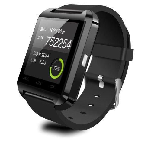 Luxe Bluetooth Smartwatch Wrist Wrap Horloge Telefoon voor Apple iOS 4/4S/5/5C/5S, Android Samsung S2/S3/S4/Note 2/Note 3, HTC, Nokia, Zwart