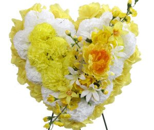 Memory Lane Memorials Deluxe Silk Floral Heart in Yellow for Grave-site Presentation in Remembrance of Loved Ones. Easel Mounted