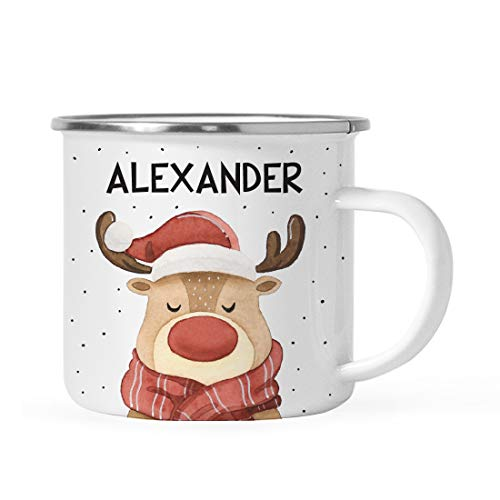 Andaz Press Personalized 11oz. Stainless Steel Campfire Coffee Mug Gag Gift, Watercolor Reindeer with Antlers, 1-Pack, Custom Christmas Holiday Hot Chocolate Cup Present Ideas for Kids Him Her
