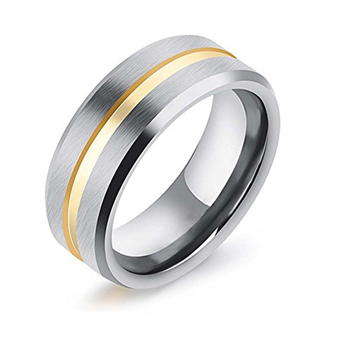 Mingjiahui Sliver 8MM Tungsten Steel Gold Groove Center Beveled Edge Wedding Band Ring for Mens Womens Size 8-12