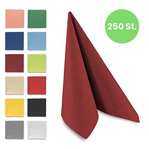 Tafel-Servietten, 3-lagig, 33 x 33 cm, Inhalt 250 St, in unterschiedliche Farben, jeweils abgestimmt auf Einrichtung & Dekoration, für Gastronomie & Zuhause, hochwertiges Material, bordeaux