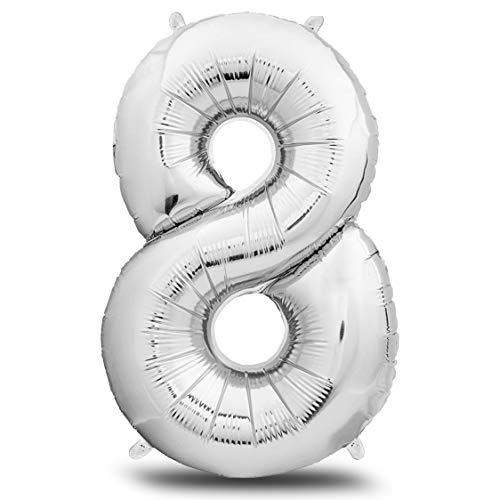 envami Folienluftballon Zahl XXL Silber I 101cm Geburtstagsdeko I Riesen Zahlenballon I Ballon Zahl Deko zum Geburtstag I fliegt mit Helium (Zahl 8)