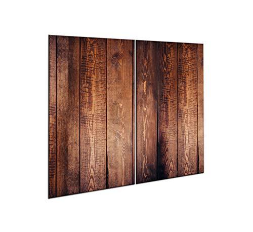 CTC-Trade |Herdabdeckplatten Set 2x30x52 cm Ceranfeld Abdeckung Glas Spritzschutz Abdeckplatte Glasplatte Herd Ceranfeldabdeckung Braun Holz