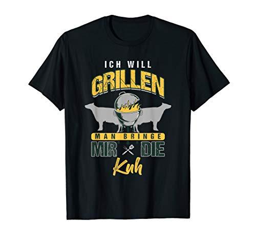 Herren Lustiges BBQ Ich Will Grillen Spruch Grillgeschenk Grill T-Shirt