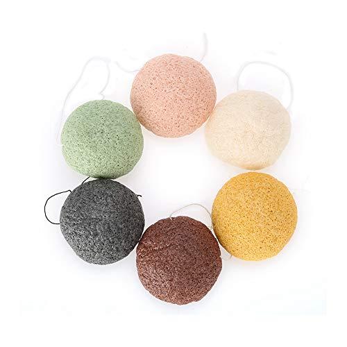Salmue 6pcs / set Konjac Sponge, 100% puro natural Puff Konjac Sponges Herramienta de masaje Herramientas para piel húmeda / seca para limpiar y exfoliar eficazmente los poros (02 #)