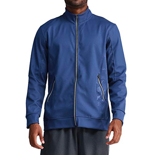 Men's Running Cycling Quick Dry Basketball Sports Jacket Coat Breathable Training Fitness Tops Sportswear(Blue, XXL)