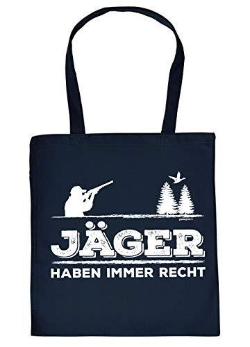 Jäger-Sprüche Geschenktasche - Baumwolltasche Jagd Motiv : Jäger haben Immer Recht - Einkaufstasche Jagdsport Stofftasche - Farbe : Navyblau