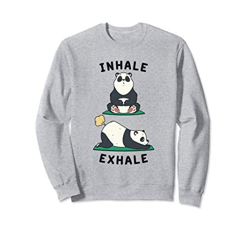 Divertido Yoga Inhalar Exhalar Pedo Panda Posición de Yoga Sudadera
