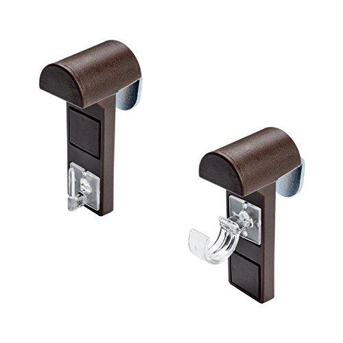 JalousieCrew 2 Stück Klemmträger für Vitragestange Scheibengardinen Stange Farbe weiß braun (braun)