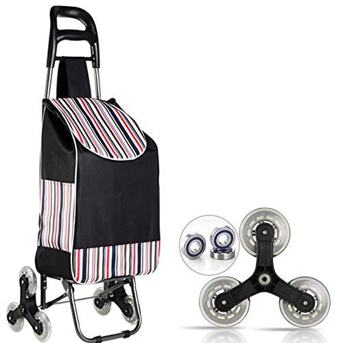 Klappbare Einkaufswagentasche, faltbarer Trolley Wagen, 3-Rad-Treppensteiger, faltbar, große Kapazität, leicht zu erklimmende Treppe, zum Einkaufen, Picknicken. ( schwarz)