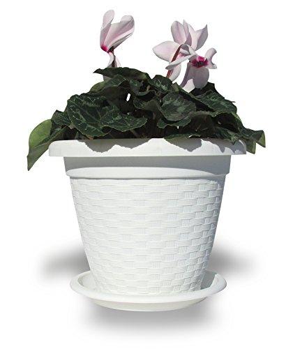 Hobby&Style 5140 Pot Rond rotin, Blanc, 20