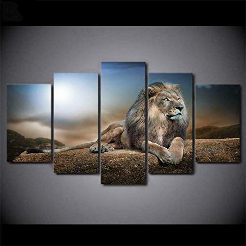 Posters and Prints 5 Pieces Canvas Painting Wall Art 5 Piece Canvas Artwork Modern Framed Gallery-Wrapped Male Lion On Rock Home Decor Hd Print Modular Pictures Ready to Hang