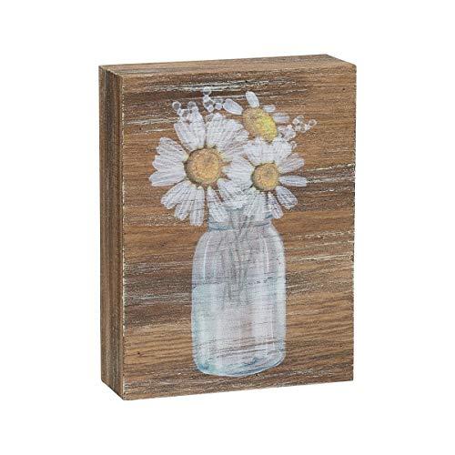 Collins Painting Inspirational Wood Grain Mini Block Sign, 4' (Daisies)