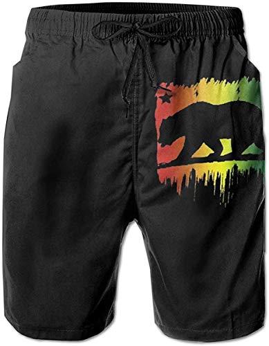 N Badehose Summer Beach Shorts Taschen Boardshorts für Männer Jugend Jungen Rasta Lion Jamaican Reggae Crown L.