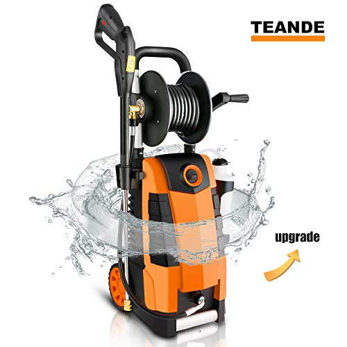 TEANDE 3800PSI Electric Pressure Washer, MAX 2.8GPM Electric Power Washer 1800W High Pressure Washer with Hose Reel MR3800 (Orange)