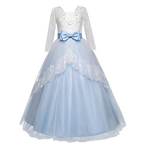 Kolylong Robe Princess de soirée Chic Bowknot Tulle Robe Tutu de mariée Prop Déguisement Costume Demoiselle d'honneur Enfants Filles vêtements Tenues pour Fête Événement 5 à 13 Ans (Bleu Ciel, 5 Ans)