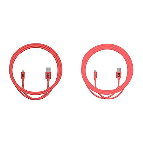 Juice Apple iPhone Lightning 1m Charger and Sync Cable- Coral & XL Apple Lightning Charge and Sync Cable, Coral