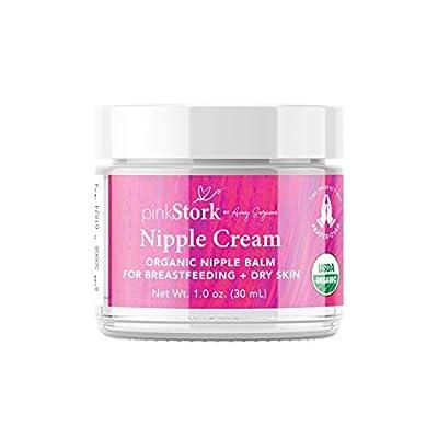 Pink Stork Nipple Cream: 100% Organic Breastfeeding Essentials with Jojoba Oil + Coconut Oil + Shea Butter, Lanolin Free, Heals Cracks + Pains, Women-Owned, 1 oz