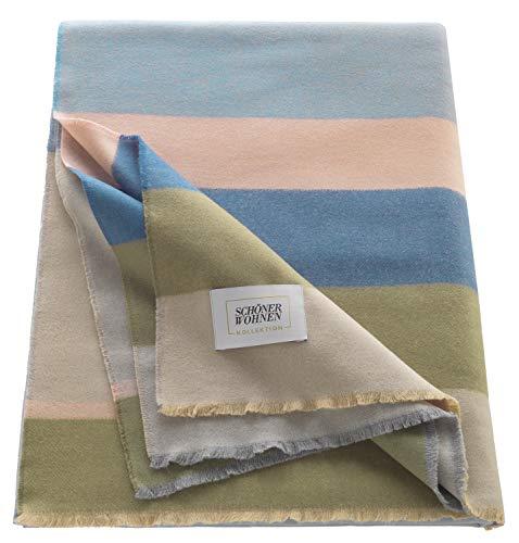 Schöner Wohnen Kollektion Tagesdecke Blau 150x200 • in Deutschland produziert • leichte Sofadecke Big Check • Wohndecke Baumwolle/Kunstfaser