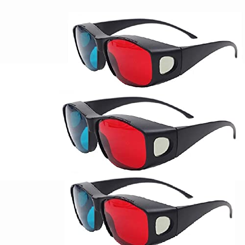 Jambar Nvidia Red & Anaglyph / Cyan 3D Glasses for Movie /TV / Magazine / Projector ( 3 Pcs. Pack )