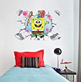 Etiqueta De La Pared Bob Esponja 60x90cm Mural Adhesivo 3d, Pster, Papel Tapiz Para El Hogar, Dormitorio, Sala De Estar, Cocina, Decoracin Del Hogar