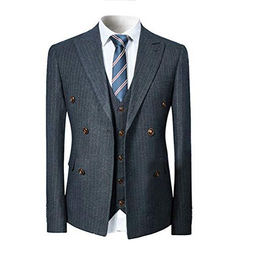 [YFFUSHI]スーツ メンズ スリーピース 1つボタン ダブルボタン チェック柄 ストライプ ビジネススーツ スリム 結婚式 スーツ