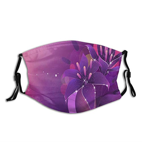 FULIYA Protect Face Cover Bandana Balaclavas,Cotton Mouth Cover,For Men Women,5Ply Reusable Fashion Washable Cover,With Two Filter,Flowers, Lily, Lilac, Shine