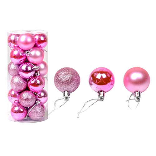 2021 The Latest Christmas Baubles Sale 24Pcs 30mm Christmas Tree Balls Ornaments Christmas Decorative Bauble Pendant Decorations Hanging Home Party Decor Merry Christmas Holiday Xmas Gifts (Silver...