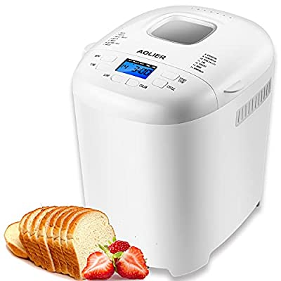 AOLIER Bread Machine, 2LB 14-in-1 Bread Maker Machine with Nonstick Stainless Steel Pan | 2 Loaf Sizes & 3 Crust Colors | Reserve & Keep Warm Set | Recipe Booklet Included (White)
