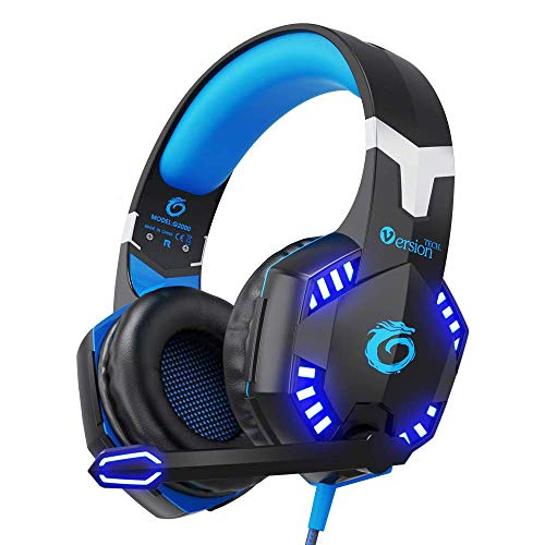 VersionTech Updated Version Each G2000 3.5mm Pro Stereo Gaming Headset Headphone Headband with Microphone,LED Light,Deep Bass,Noise Isolation Features for PS4 Laptop and Mobile Phones