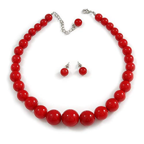 Avalaya Hot Red Acrylic Bead Choker Necklace and Stud Earring Set (Silver Tone) - 34cm L/ 7cm Ext
