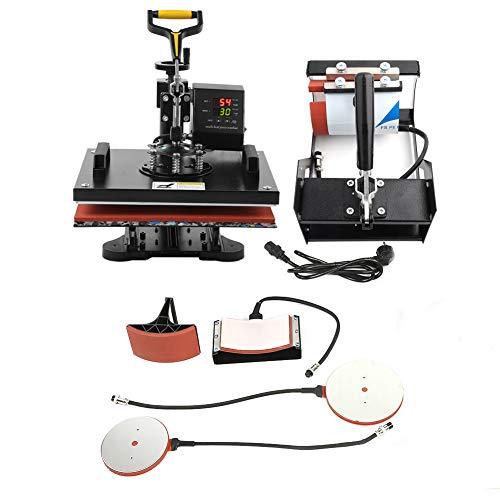 Máquina de prensa de calor 5 en 1, impresora de transferencia de calor, mango amarillo de brazo largo para platos de cerámica para tazas, tapas para camisetas