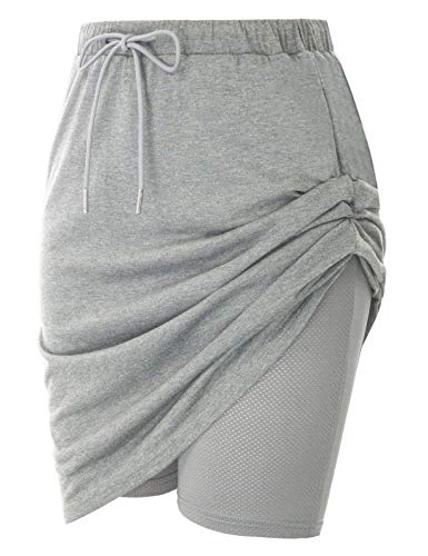 JACK SMITH Stretchy Sport Skirts for Women Knee Length with Pockets Elastic Waistband(M,Light Gray Heather)
