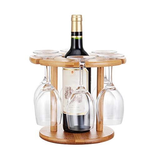 Bireegoo 1 juego de estante de vidrio de vino de bambú natural, estante de madera para secar copas de vino y soporte para botellas para el hogar, bar, fiesta
